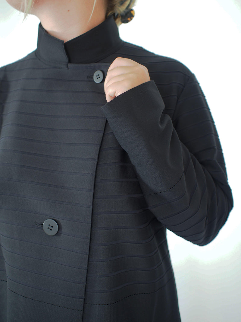 Striped Knit Boxy Jacket - Black