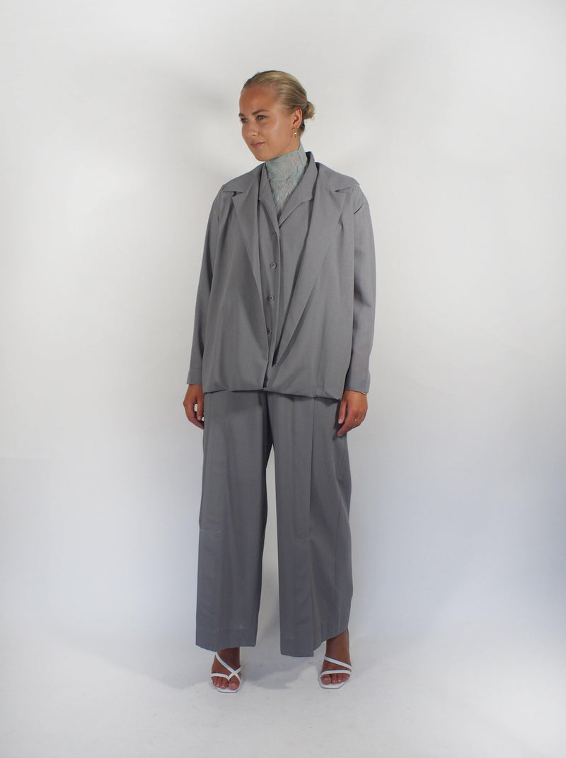 Layered Wool Gauze 2 Way Jacket - Grey