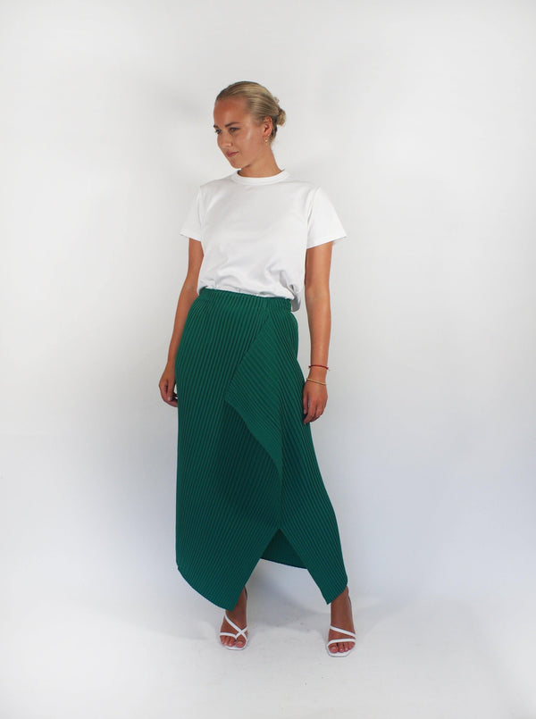 Zig Zag Solid Pleats Skrt - Emerald