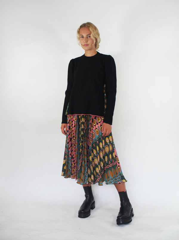 Pleated Db Georgette Print Skirt