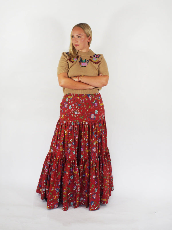 Floral Cotton Poplin Big Skirt