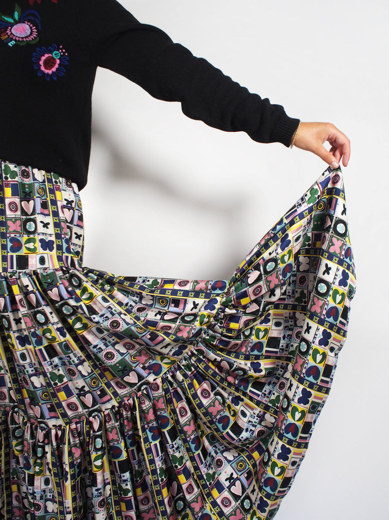 Silk Twill Geometric Print Big Skirt