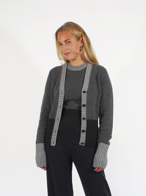 """Wall Street"" Grey Panelled Cardigan - Grey"