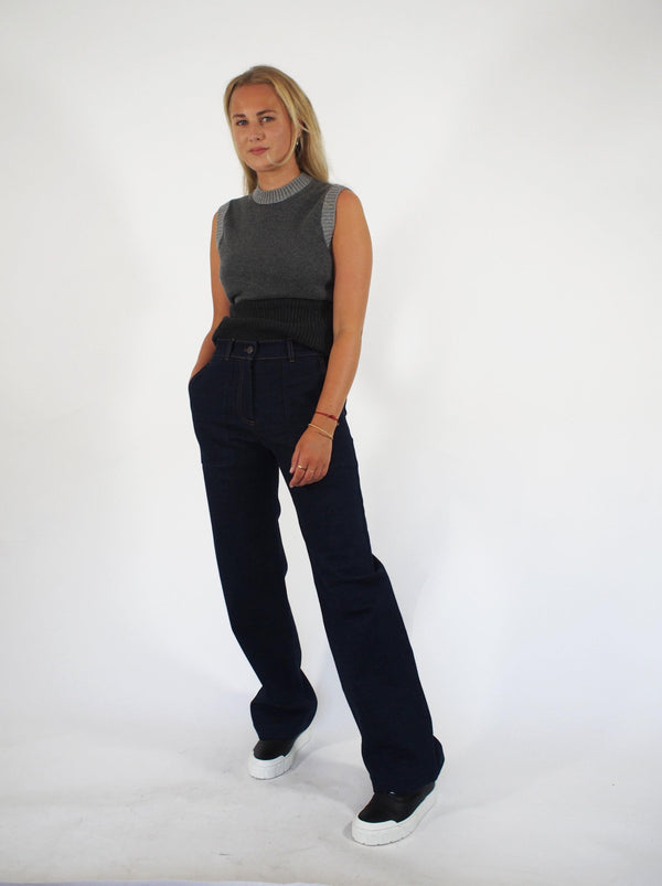 """Dannie"" Patch Pocket Wide Leg Denim - Denim"