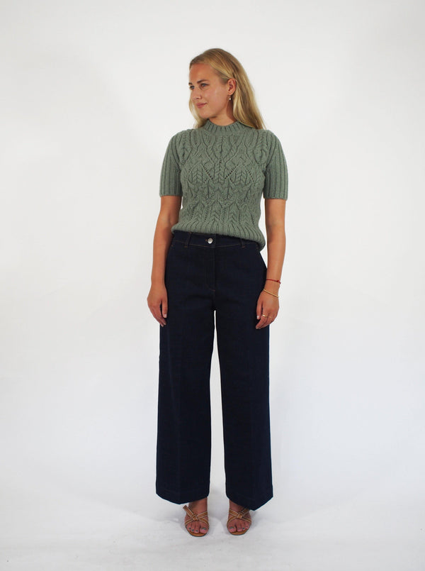 """Garry"" Cropped Denim Pant - Denim"