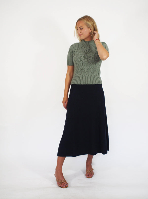 """Newbury"" A-Line Fine Ribbed Cash Skirt"