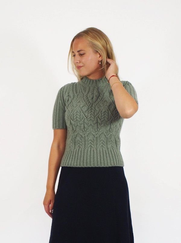 """Tribica"" S/S Cablefront Sweater - Sage"