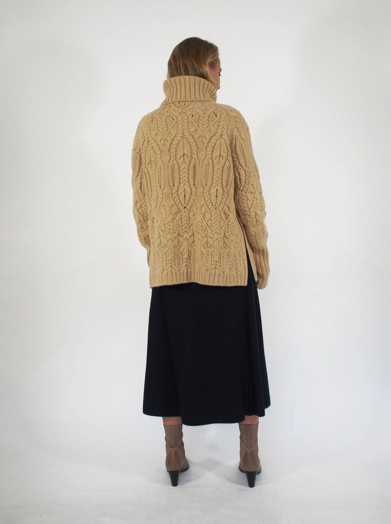 """Tribeca"" Cashmere Cable High Neck - Camel"