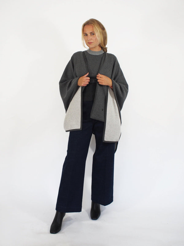 """Jersey"" Baby Cashmere Cape - Grey"
