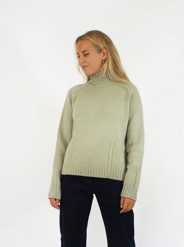 """Madison"" Baby Cashmere Sweater - Celery"