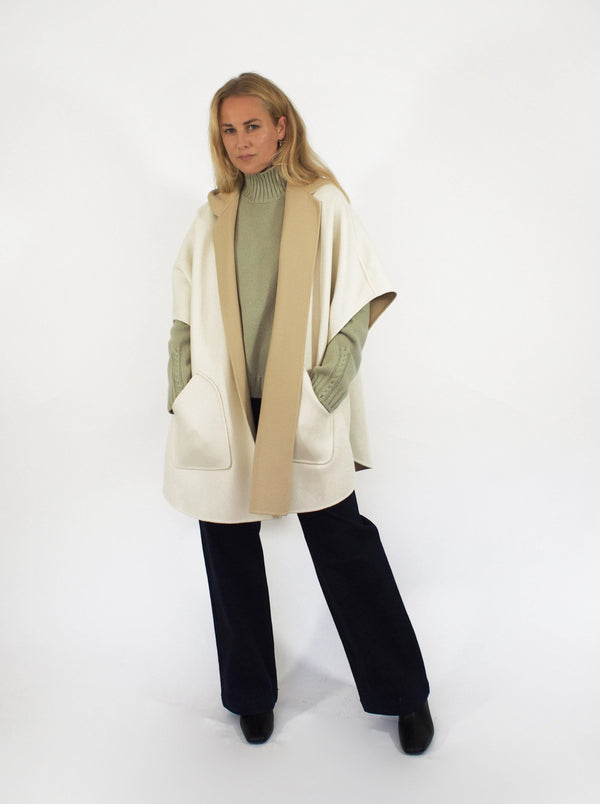 """Carlene"" Double Faced Baby Cash Cape - Beige"