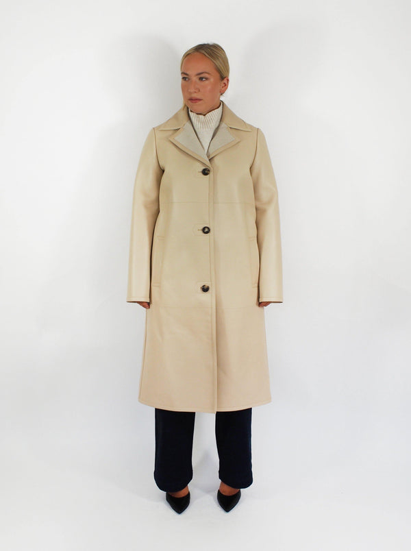 "Loro Piana - ""Colbert"" Leather Coat - Cream - Coats - Boboli Vancouver Canada"