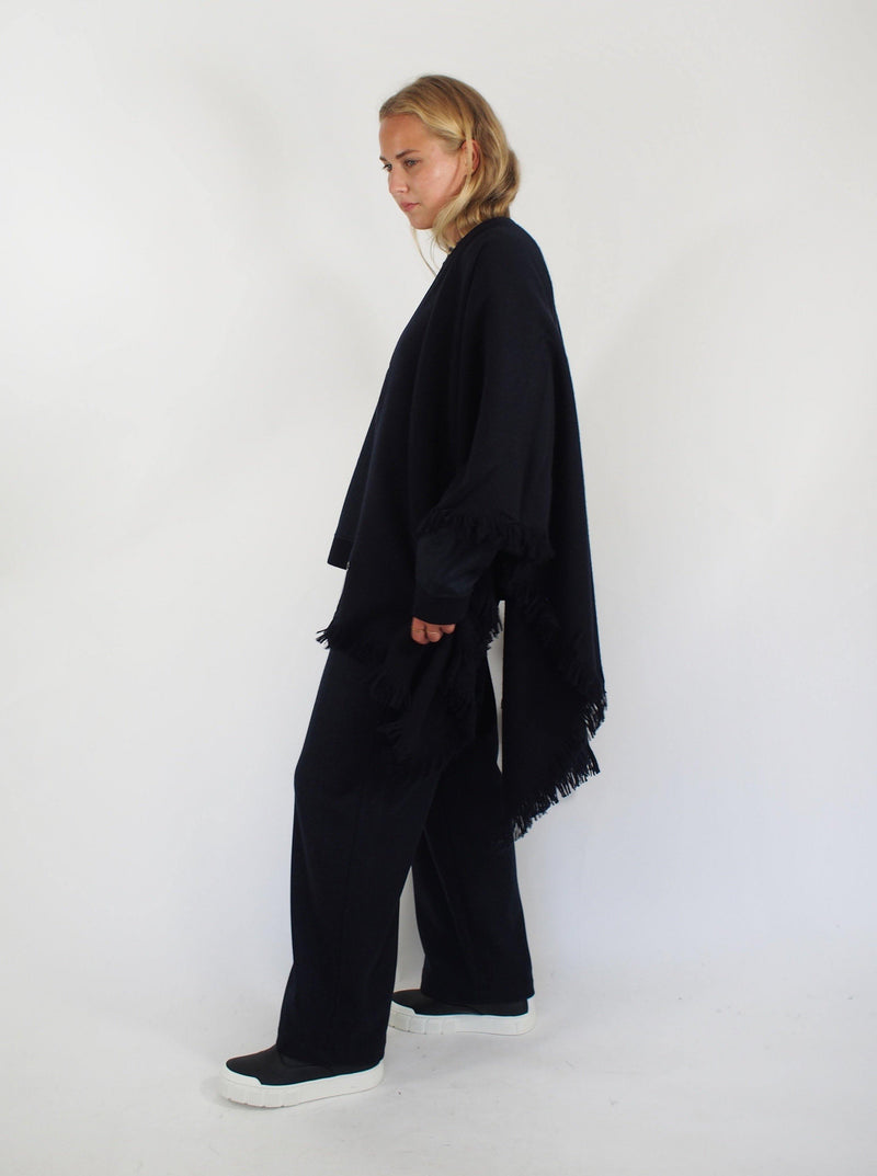 """Morgan"" Cashmere Fringe Cape - Navy Blue"