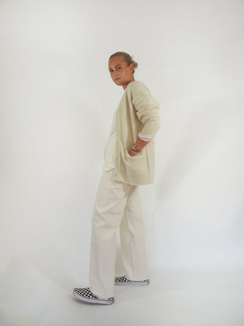 Cashmere Mohair Cardigan - White