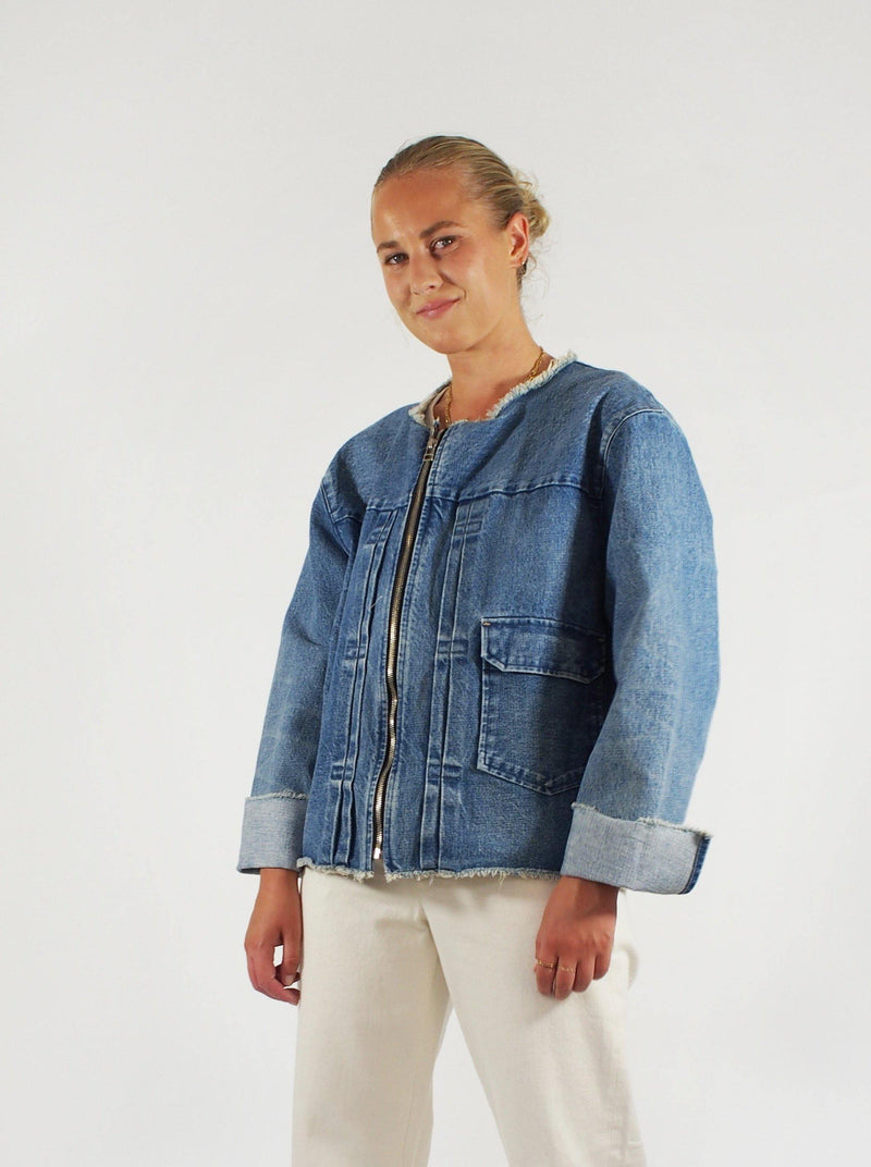 Mid Washed Jean Jacket - Blue