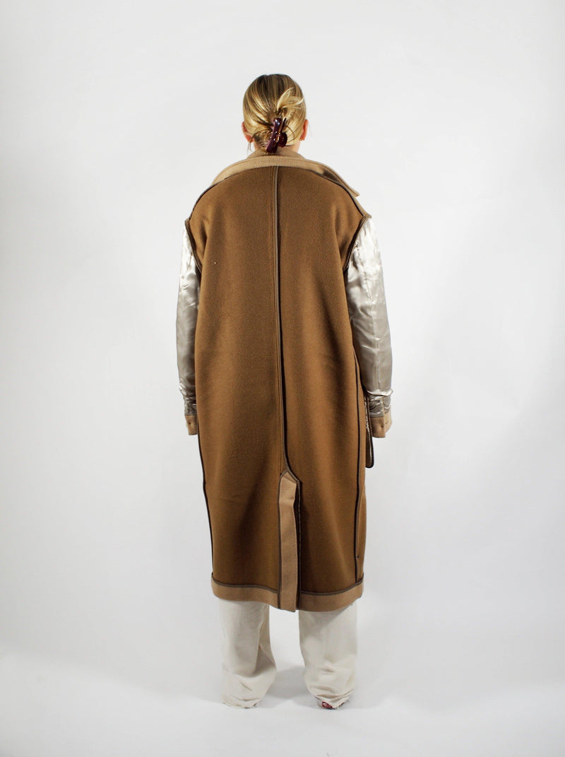 Double Faced Reversible Coat - Camel