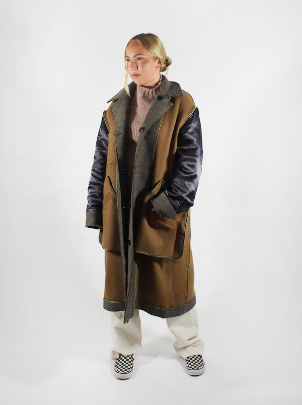 Tanaka - Unfinished Reversible Herringbone Coat - Beige - Coats - Boboli Vancouver Canada
