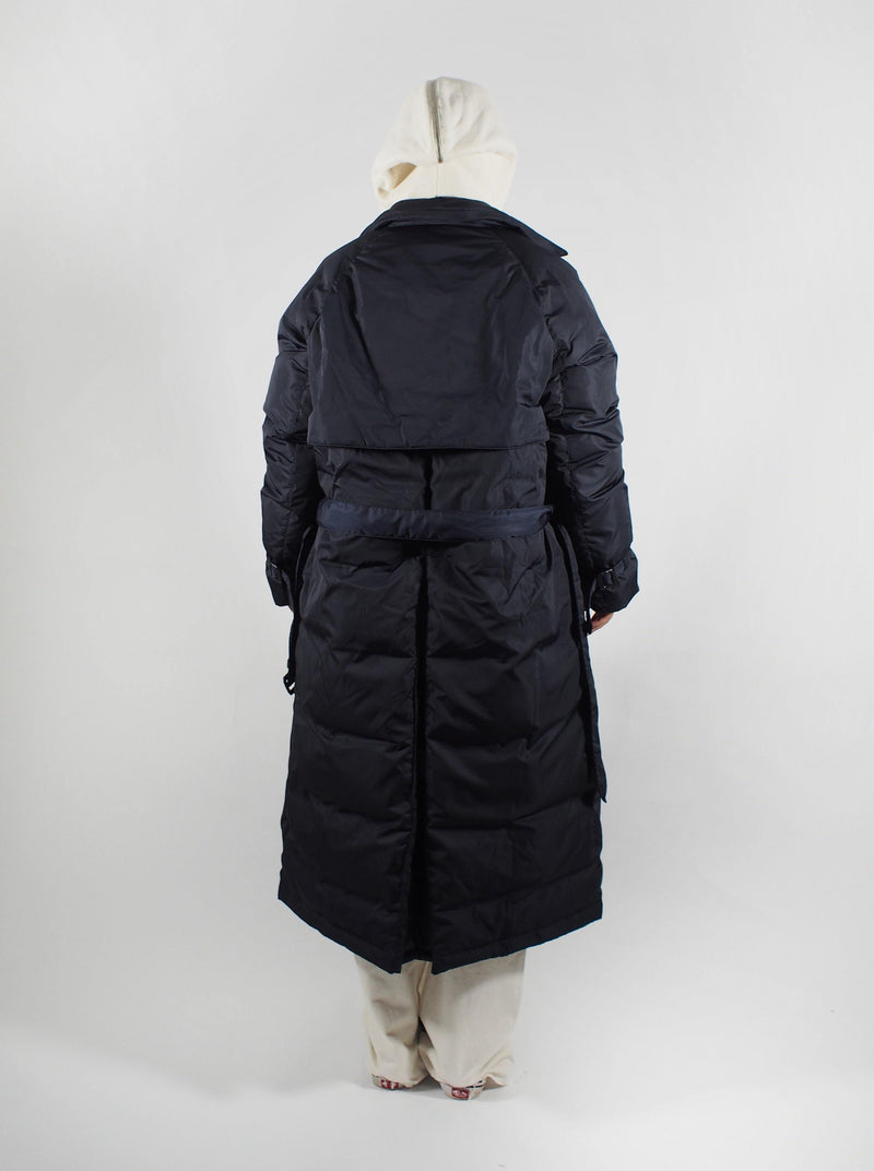 Down Trench Coat - Navy Blue
