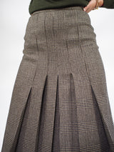 Prince of Wales Plisse Skirt-Brown