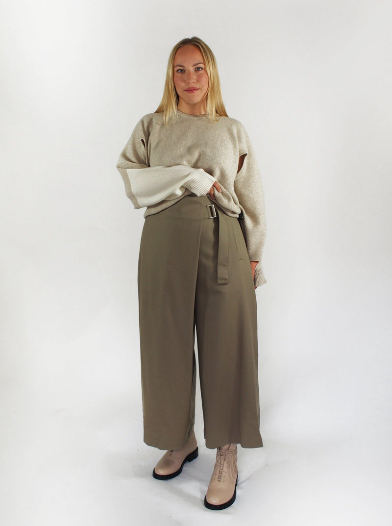 Fine Wool Wrapped Crop Pant - Taupe