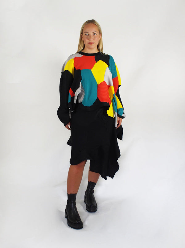 Asymmetrical Patchwork Intarsia Skirt - Black
