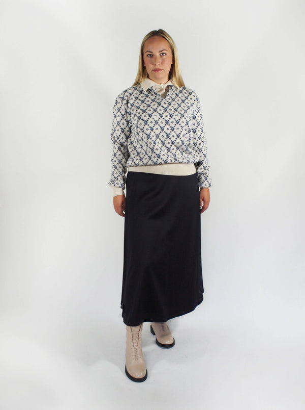 Camel Hair Mid Length Skirt-Navy Blue
