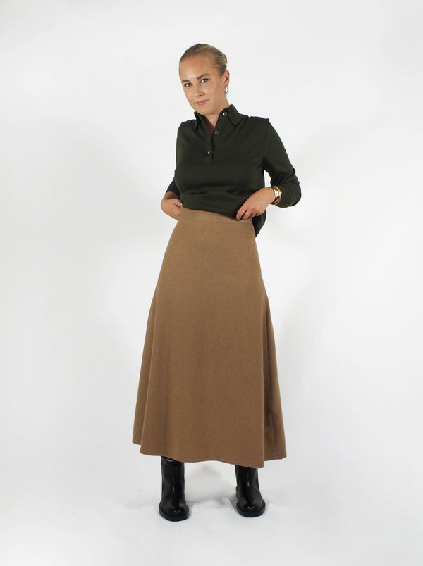 Camel Hair Mid Length Skirt-Camel