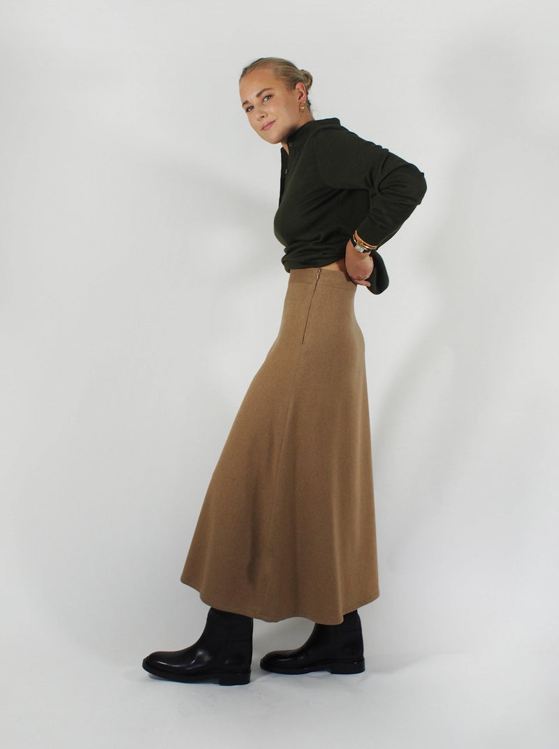 Giuliva Heritage - Camel Hair Mid Length Skirt-Camel - Skirts - Boboli Vancouver Canada