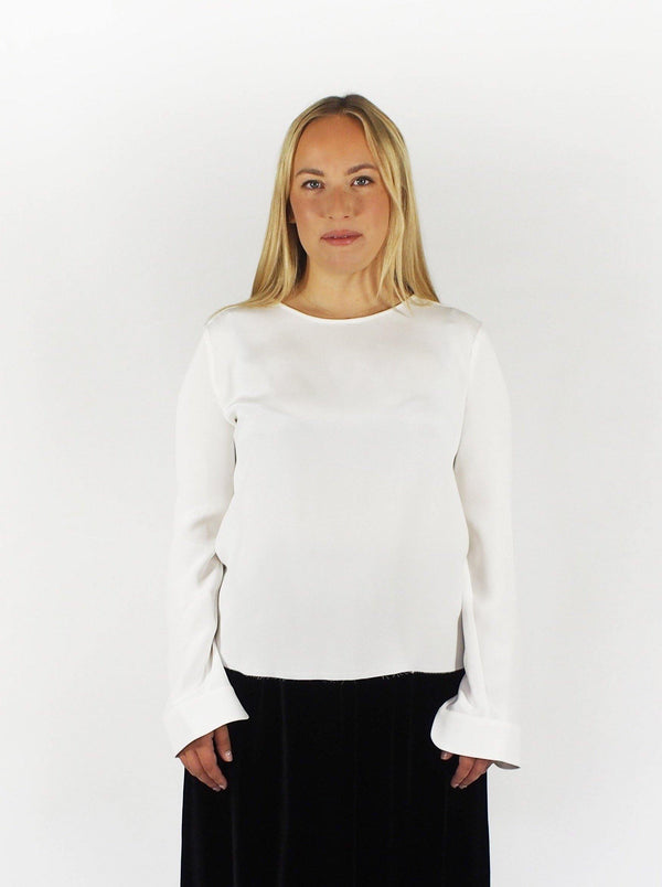 Silk Crew Neck Shirt - Off-White