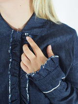 Ruffle Trimmed Denim Shirt - Denim