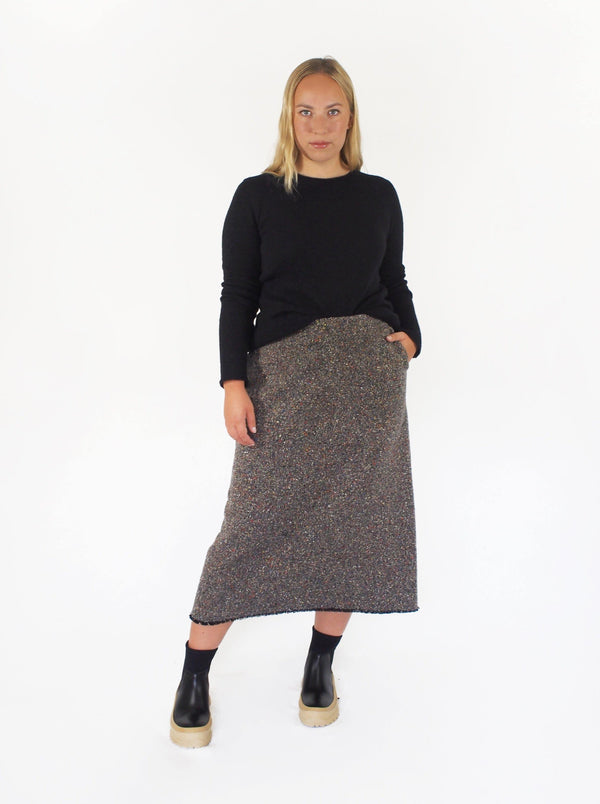 Birds Eye Raw Hem Skirt - Taupe