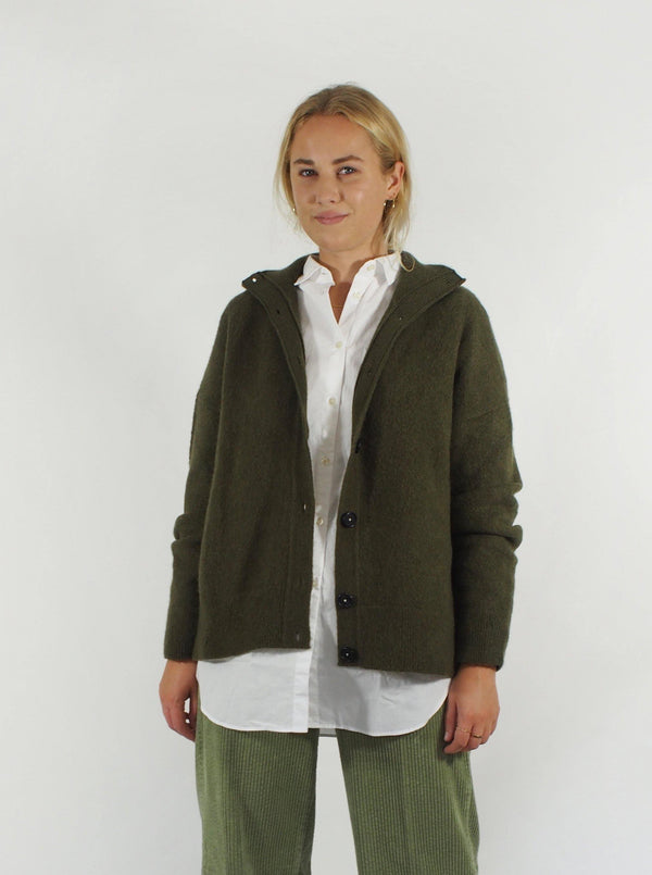 Brushed Cashmere Cardigan - Khaki