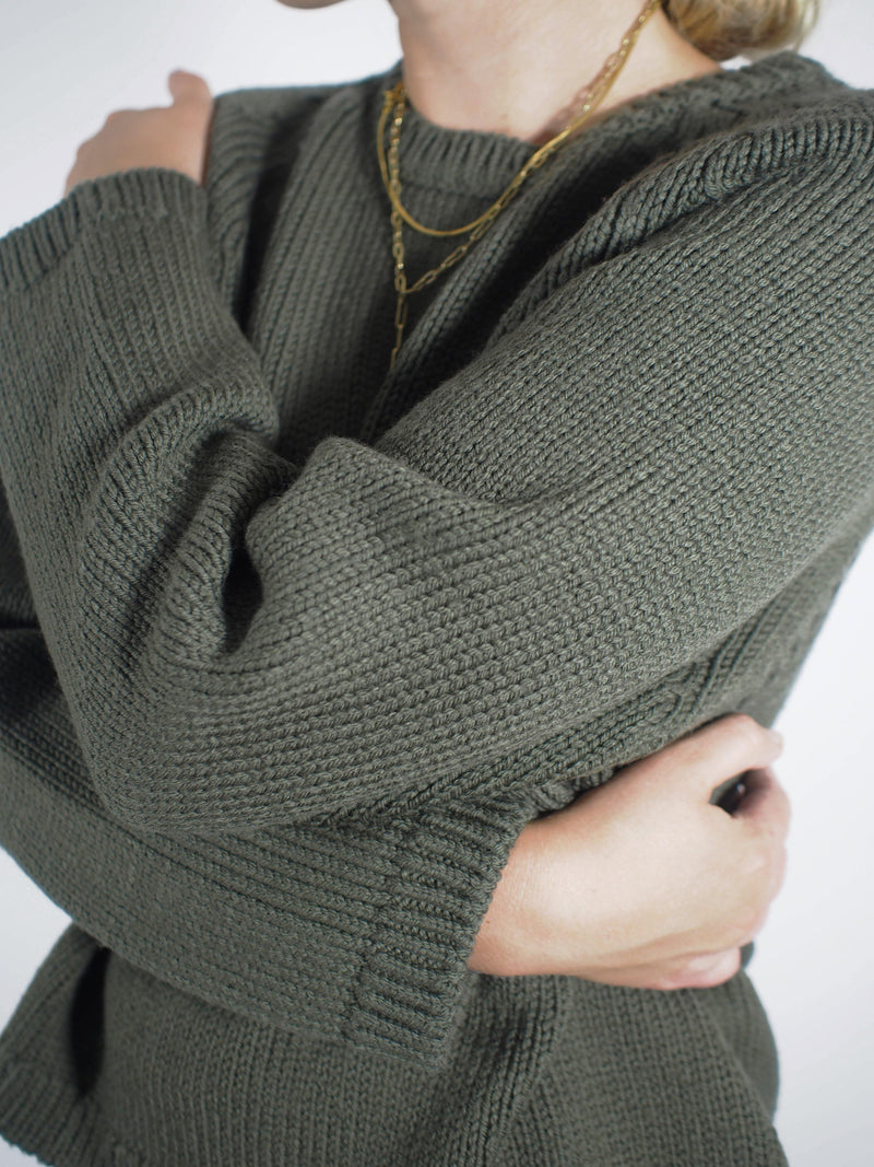 3 Gauge Boxy Sweater - Khaki