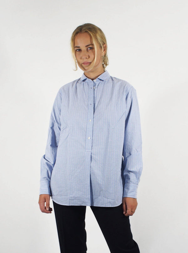 Striped Poplin Polo Cut Shirt - Blue