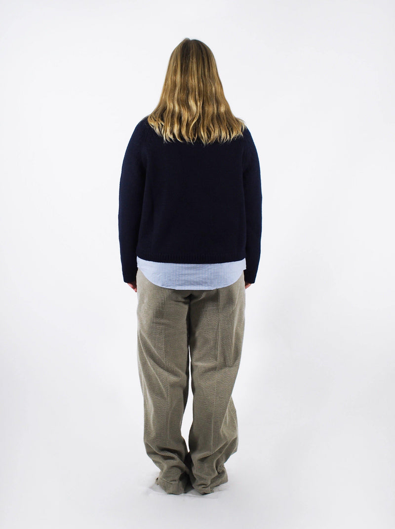 3 Gauge Boxy Sweater - Navy Blue