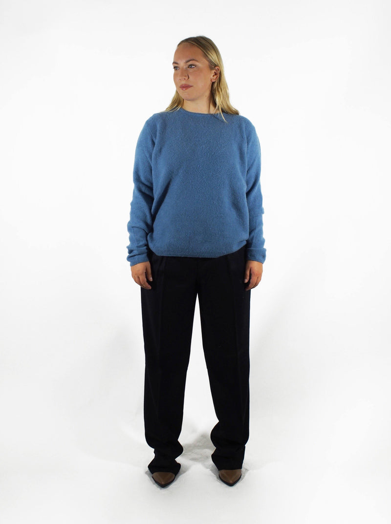 Brushed Cashmere Crew - Blue