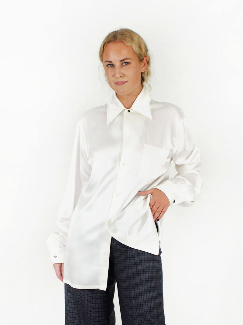Classic Satin L/S Revere Collar Shirt - White