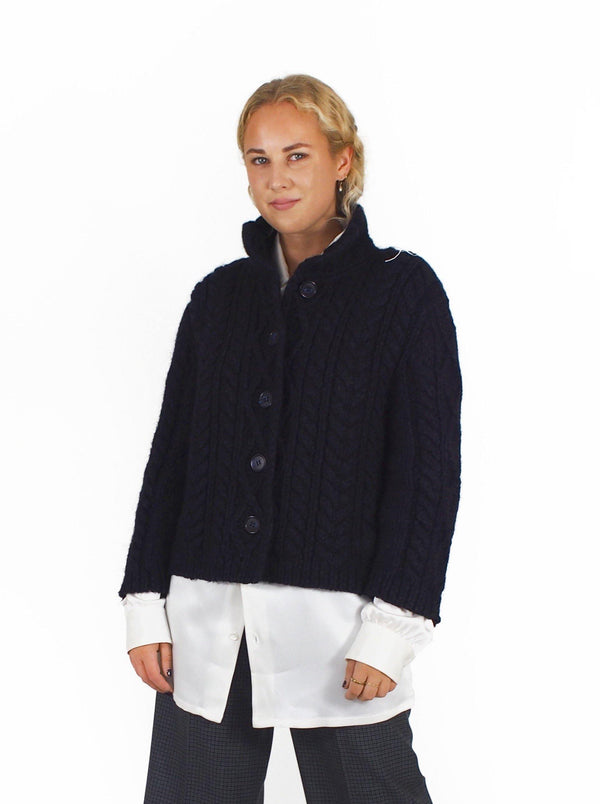 S/S Cabled Cardigan - Navy Blue