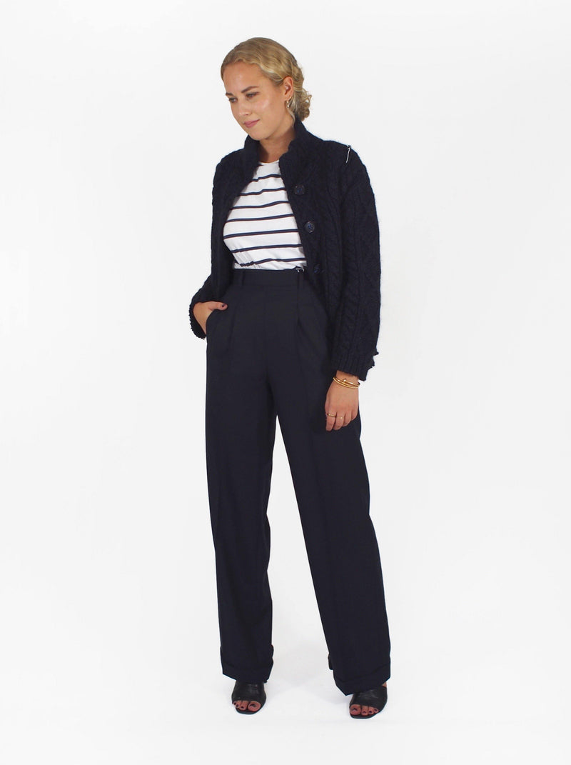 Db Pleat Side Zipped Classic Pant - Navy Blue