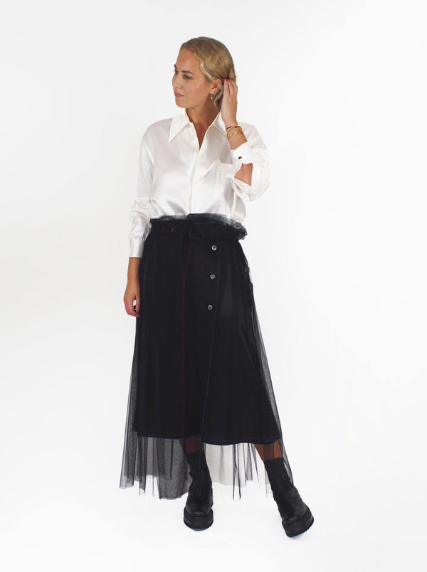 Belted Tulle Skirt - Black