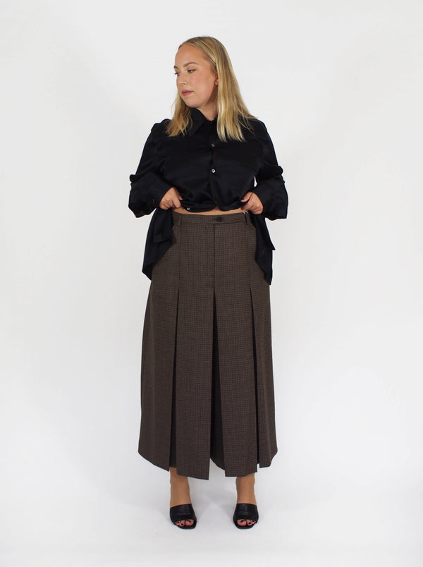 Puppy Tooth Long Culotte - Brown