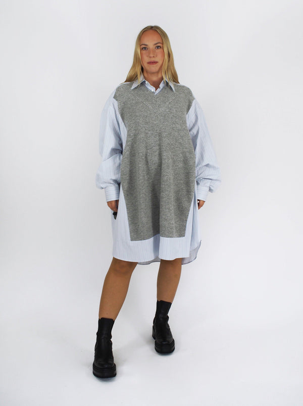 Vested Oversize Shirt Dress - Blue