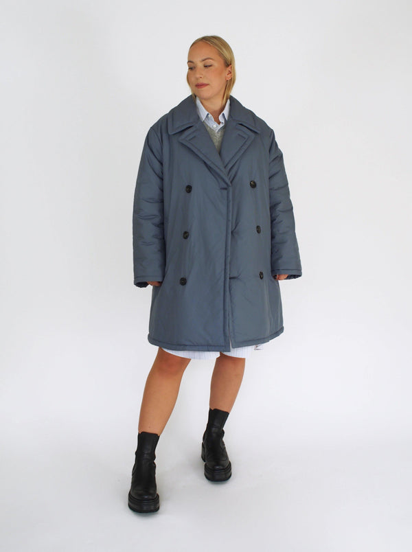 Oversized Padded 3/4 Puffer Jacket - Sky