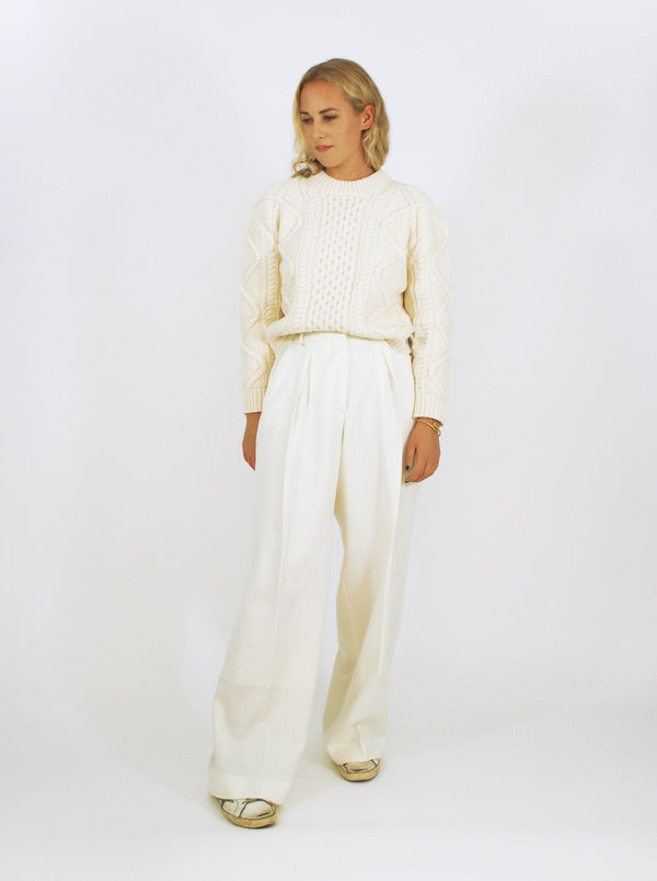 Wool Flannel Inverted Pleat Pant - Off-White