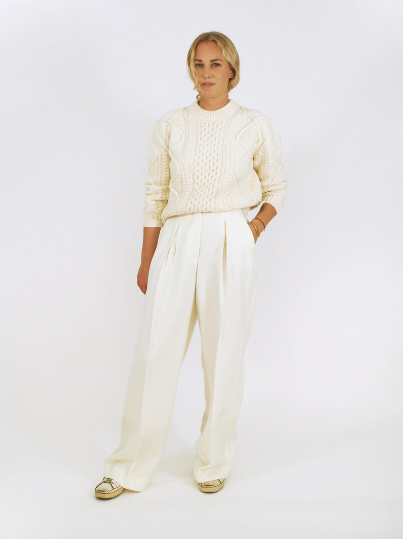 Officine Générale - Alizee Irish Knit Sweater - Off-White - Sweaters - Boboli Vancouver Canada
