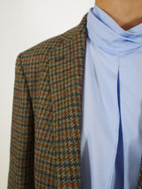 Charlene Jkt Wo Houndstooth - Blue/Brown
