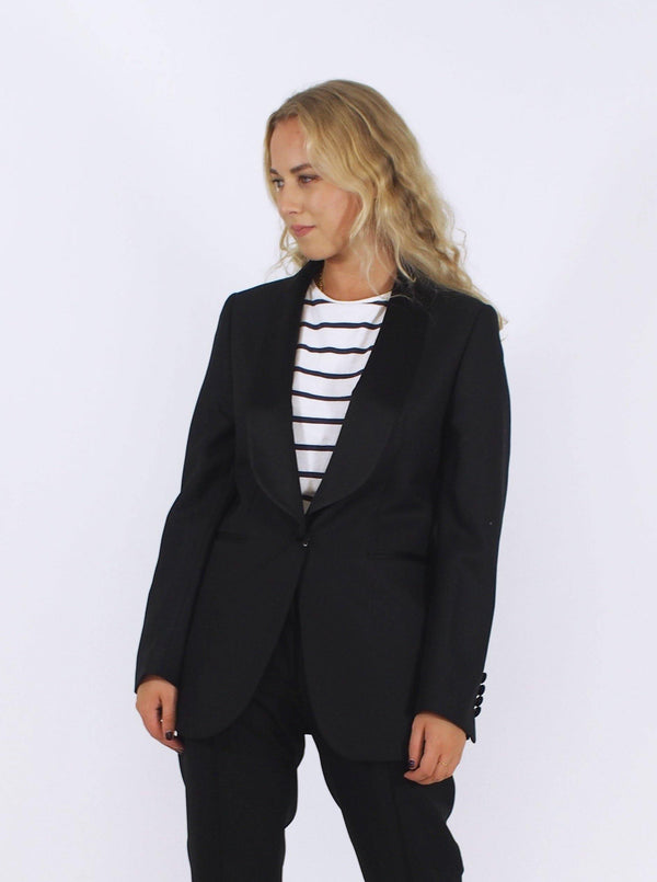Natalia Tux Satin Lapel Jacket - Black