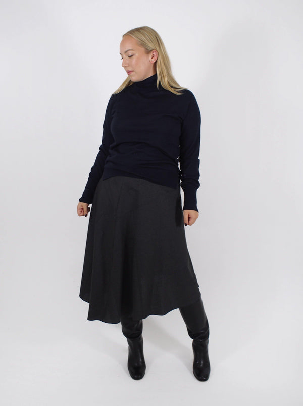 Anissa Fresco Wool Asymetric Hem Skirt - Grey