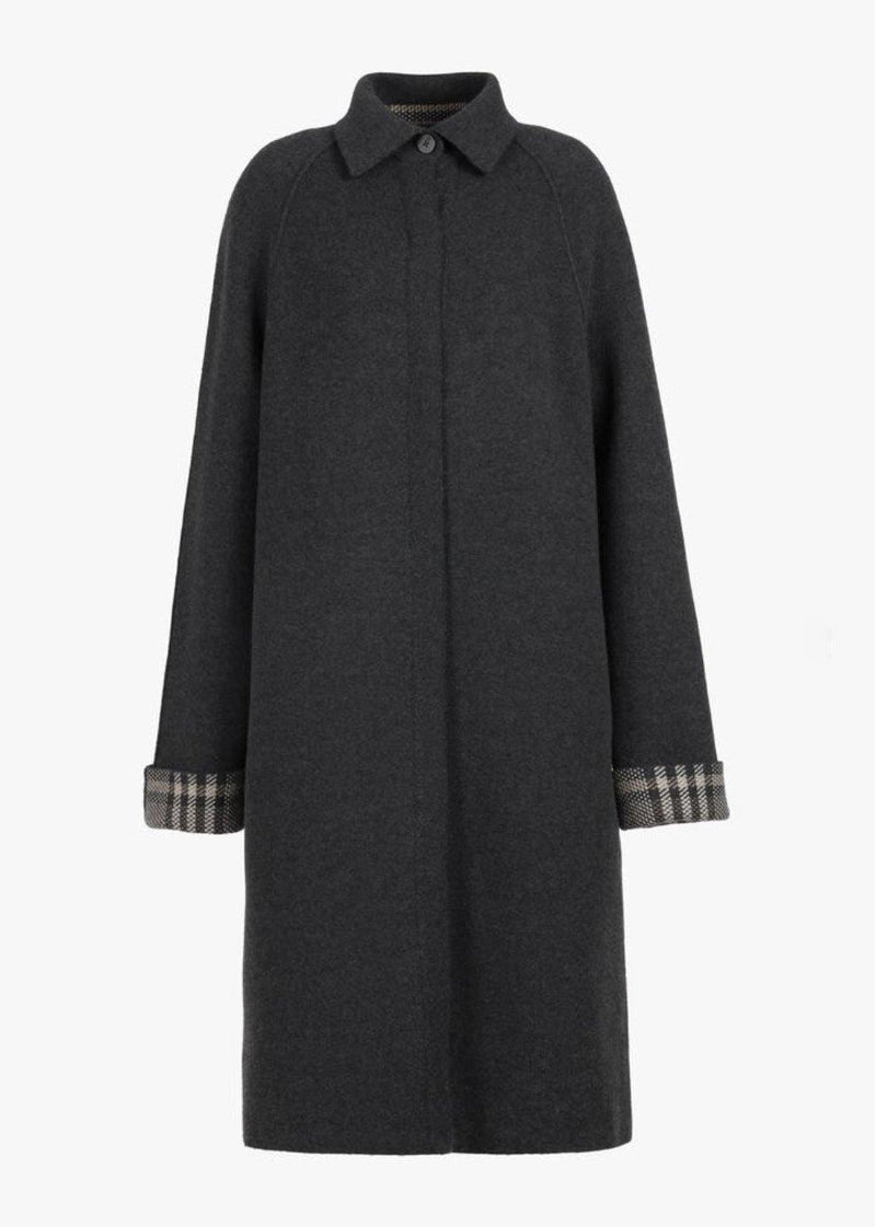 St. Patrick Rev. Tweed/Solid Knit Coat - Grey