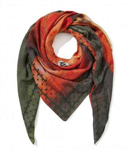 """Boy With A Bird"" Cashmere Scarf - Khaki"